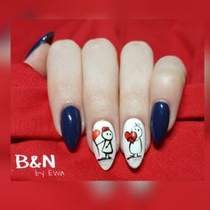 walentynkowe paznokcie Valentine Nail Art, Valentines Design, Simple Nail Designs, Nail Art Designs, Flower Toe Nails, Color Block Nails, Blue Nails, Winter Nails, Short Nails