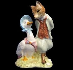 Royal Albert China - Special Collections - Beatrix Potter Figurines- Jemima Puddleduck with Foxy Whiskered Gentleman