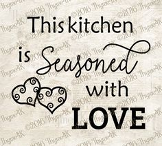 "{FREE Cut File} ""This kitchen is Seasoned with Love"" Digital Design--Included formats dxf, svg, eps, png, & jpeg Diy Cutting Board, Glass Cutting Board, Silhouette Cameo Tutorials, Silhouette Projects, Vinyl Crafts, Vinyl Projects, Cricut Tutorials, Cricut Ideas, Frame Crafts"