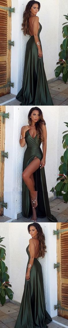 Elegant Simple Prom Dress,Sexy Backless Split Prom Dress,Cheap Prom Dress,Long V-Neck Prom Dress, Sexy Prom Dresses, Green prom dress G203#prom #promdress #promdresses #longpromdress #promgowns #promgown #2018style #newfashion #newstyles #2018newprom #eveninggown #backlesspromdress #darkgreen #split #vneck #sexypromdress