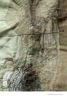.Junko Oki love the density of her stitch and the muted tone. She sews it like she is just following the growth of a life form