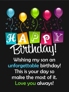 29 Best Sons Birthday Wishes Images In 2019 Birthday Cards Gifts