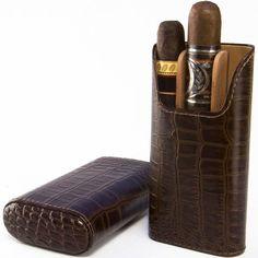 Brizard Cigar Case All Leather Croco Tobacco (Leather)