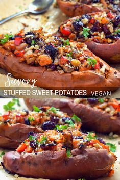 Loaded Sweet Potatoes Recipe - A Healthy Gluten Free Vegan Dinner Or Side Dish. These Sweet potatoes are loaded with wholesome clean ingredients and perfectly baked in the oven, making a super healthy satisfying meal. Savory Sweet Potato Recipes, Loaded Sweet Potato, Sweet Potato Pecan, Savoury Recipes, Best Gluten Free Recipes, Vegan Recipes, Real Food Recipes, Drink Recipes, Delicious Recipes