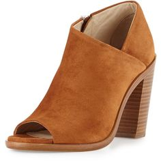 Rag & Bone Mabel Suede Peep-Toe Bootie (7 840 ZAR) ❤ liked on Polyvore featuring shoes, boots, ankle booties, tan suede, peep toe booties, high heel booties, high heel ankle boots, tan ankle boots and short boots