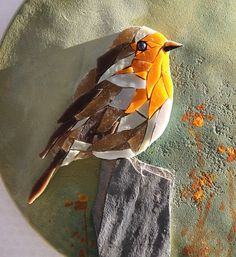 Round table robin bird mosaic painting BIRDY 7
