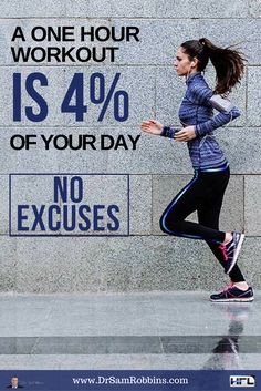 A ONE HOUR WORKOUT IS 4% OF YOUR DAY - NO EXCUSES #Fitness #Quotes