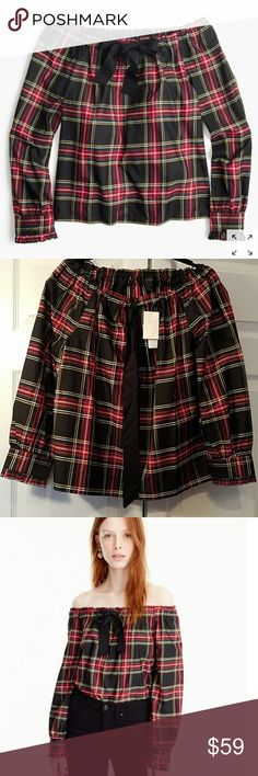 NWT J Crew off the shoulder top stewart plaid NEW J. Crew off the shoulder top size S.  Stewart plaid; Silk-blend top in a festive seasonal plaid and pulled it all together with an adorable bow. Bonus: You can wear it on or off the shoulder.  Silk/poly.Functional buttons at cuffs.Dry clean. J. Crew Tops Blouses