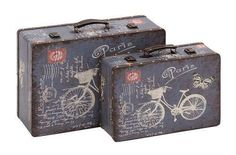 Set of two wooden vinyl printed vintage suitcases