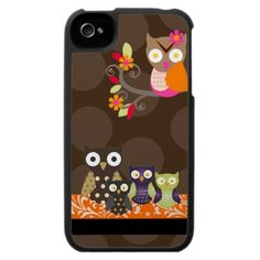 PixDezines Owl/pink+orange/DIY background color Iphone 4 Cases by iPhone Skins