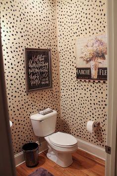 "Gratefully Inspired: Powder Room Reveal // DIY Leopard ""Wallpaper"""