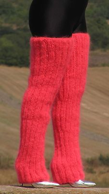 Mohair hand knit gaiters neon #coral legwarmers #fetish #legging spats unisex 78 ,  View more on the LINK: http://www.zeppy.io/product/gb/2/252644671808/