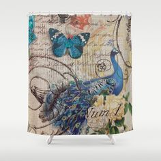 peacock and peacock feather shower curtain glamour