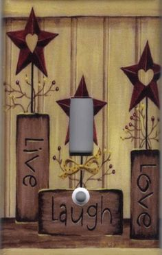 BARN STAR Live love Laugh barnstar Light Switch Plate cover Country Rustic Theme on Etsy, Rustic Theme, Rustic Decor, Farmhouse Decor, Wall Decor Lights, Home Wall Decor, Country Crafts, Country Decor, Western Crafts, Country Charm