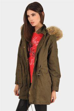Bleeker Fur Hooded Jacket - Olive