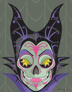 5 Disney Villians Sugar Skull Print print by NutCracks Art Disney, Disney Kunst, Disney Love, Disney Magic, Disney Pixar, Disney Tattoos, Tatto Skull, Maleficent Movie, Malificent