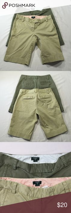 """J. Crew Bundle of 2 City Fit Shorts Size 0 Tan pair is in great condition. Green pair has some fading due to washing. No holes, rips or stained on either pair. 🔅 97% cotton 🔅 3% spandex 🔅 Waist - 30"""" 🔅 Rise - 8"""" 🔅 Inseam - 10"""" 🔅 J. Crew Shorts Bermudas"""