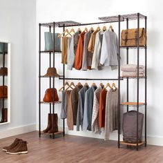 With adjustable width and shelves, the Trinity Expanding Closet Organizer fits perfectly in your closet or against a wall. The secret is in the telescoping hanging rods, which adjust from to wide. Shelves adjust up or down in increments. Ikea Closet, Closet Shelves, Closet Bedroom, Closet Storage, Closet Organization, Master Closet, Closet Space, Spare Room Closet, Playroom Closet
