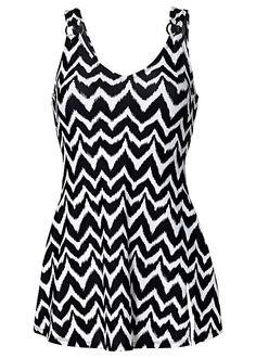 edb7d0746a6 Black Zigzag Printed Floaty Swim Dress Swim Dress