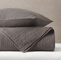 RH Modern's Channel Stitch Cotton Voile Coverlet & Sham:Our airy cotton voile bedding is free-form quilted with narrow rows of channel stitching. Each row is slightly different than the next, enhancing the quilt's plush, natural texture.