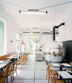 disco pizza oven / this pizzeria in vienna, designed by austrian architect lukas galehr Pizza Ball, Italo Disco, Black And White Tiles, White Walls, Disco Pizza, Cafe Restaurant, Restaurant Design, Schnitzel Pizza, Cafe Design