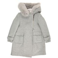 Manteau col fourrure synthétique, en drap de laine - Gris clair  ERMANNO SCERVINO JUNIOR