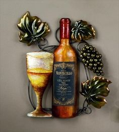 Elegant metal white wine bottle and wine glass wall decor is colorfully painted with a high gloss finish.   Dont forget the matching red wine bottle and red wine glass that is also available to complete the set.