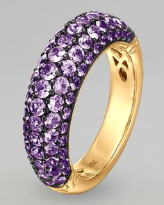 John Hardy 18-karat yellow gold shapes setting and band. Pave violet sapphire dome face. Size 7.