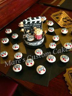 Movie theme cake and cupcakes