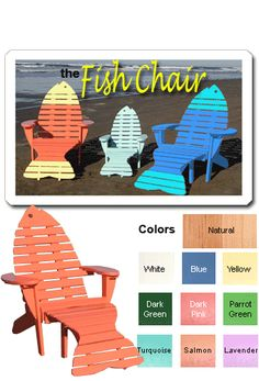 Fish Adirondack Chairs | Order Adirondack Fish Chair with Ottoman Tail From Shop-NC.com