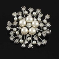 "2"" Gold Plated Clear Rhinestone Crystal Diamante Ivory Pearl Snowflake Wedding Brooch-in Brooches from Jewelry on Aliexpress.com 