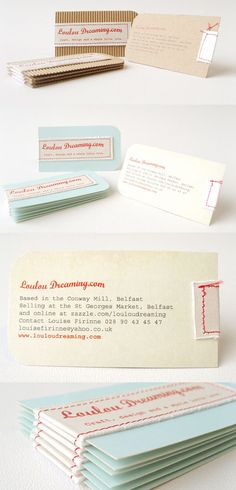 Hand-stitched business cards designed by Louise Firinne, Loulou Dreaming