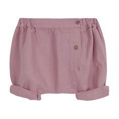 Ροζ baggy σορτσάκι για κορίτσια.  Έχει ξυλινα κουμπάκια στο πλάι.  Από 100% βαμβάκι