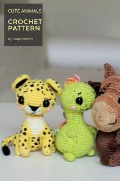 CROCHET toys pdf tutorial by LoopyPattern. Amigurumi dinosaur , crochet moose , leopard toy, dinosaur tutorial. How crochet moose , leopard pattern Crochet Toys Patterns, Amigurumi Patterns, Cute Crochet, Knit Crochet, Crochet Dinosaur, Leopard Pattern, Stuffed Animal Patterns, Free Pattern, Knitting