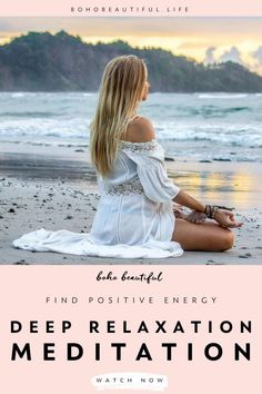 This 10 minute deep relaxation guided meditation we will help you find positive energy and peace as it guides your mind and inner awareness to releasing all that is weighing you down. | Meditation for Beginners | Relax and slowly let go of stress, anxiety, doubt, fear as this positive energy meditation class helps to guide your heart and mind to peace and blissful present awareness. | Mindfulness | Juliana Spicoluk | Boho Beautiful #meditation #mindfulness #yoga #anxiety #presentmoment Relaxation Meditation, Deep Relaxation, Mindfulness Meditation, Guided Meditation, Mindfulness For Beginners, Meditation For Beginners, Meditation Crystals, Chakra Meditation, Boho Beautiful