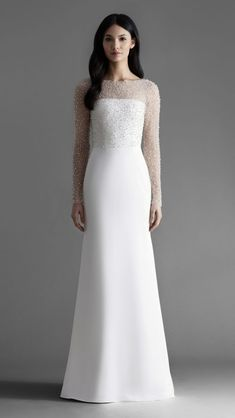 Long sleeve embellished wedding dress Alexa bridal gown by Allison Webb. This is an elegant dress. The embellishment draws the attention to the rest of the dress. I wonder what kind of material it is. Simple Wedding Gowns, Minimalist Wedding Dresses, Western Wedding Dresses, Classic Wedding Dress, Long Wedding Dresses, Long Sleeve Wedding, Princess Wedding Dresses, Simple Wedding Dress With Sleeves, Modest Wedding