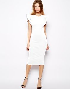 Ruffle Sleeves And Cute Shoes Perfect Rehersal Wedding Dress Asos White