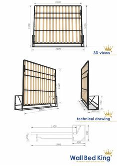 Wall Bed mechanisms from Wall Bed King murphy beds, the perfect hidden bed systems for maximising space for a modern clutter free environment. King Murphy Bed, Cama Murphy, Murphy Bed Sofa, Murphy Bed Plans, Wall Folding Bed, Hidden Wall Bed, Campervan Bed, Tyni House, Boat Bed