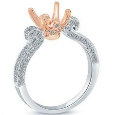 0.65 Carat F-VS Diamond Engagement Ring Semi Mount 18k White Gold - SM-188-E