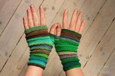 "Fingerless Mittens ""Ocean Queen"" in lush colours - handknitted from Baby Merino wool in green, blue and brown, perfect gift for her by KnitographyByMumpitz, kr230.00"