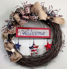 Patriotic Wreath with Welcome Sign and Berries