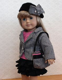 Houndstooth blazer set for American Girl doll,  5 piece set includes hat, tank ruffle skirt and purse