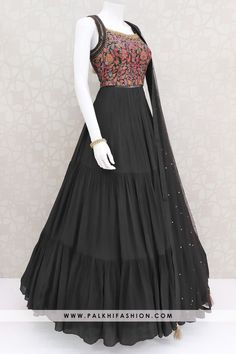 Dark wine pure georgette Indian designer gown from palkhi fashion with jacquard silk, thread embroidery, petite stone & cutdana handwork. Indian Dresses Online, Party Wear Indian Dresses, Party Wear Lehenga, Indian Gowns Dresses, Dress Indian Style, Indian Fashion Dresses, Indian Designer Outfits, Indian Outfits, Gowns Online