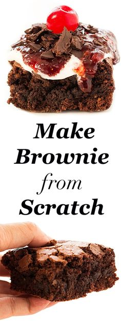 chocolate-brownie-recipe-from-scratch. Easy brownie recipe, moist with perfect strawberry jam topping and without nuts.