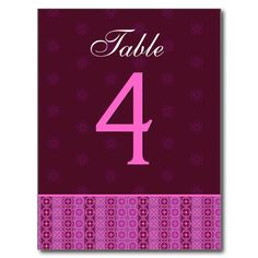 #Pink #Magenta #Stripes #Wedding #TableNumber #Card #PostCards