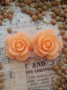 Flower Plugs Gauges Peach Roses by RefinedRubbishLLC on Etsy