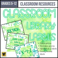 Editable Classroom Library Labels-Middle and High School-Palm Trees Classroom Library Labels, Classroom Themes, Dewey Decimal Classification, Genre Anchor Charts, Genre Labels, Ap Language And Composition, Book Bins, Ap Literature, High School Students