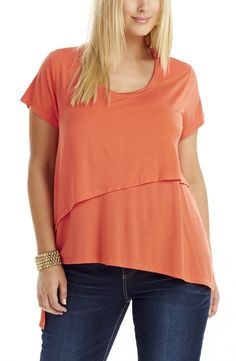 Diagonal Overlay Top - orange Style No: T1456 Viscose Elastane fabric Top. This top features diagonal over layers on the Front and Back. The layers create an asymmetrical hanks shaped hemline. The top has a scoop neck and short sleeves. #plussize #dreamdiva #dreamdivafiles