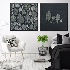 Dusty Leaves Print Set beautifully styled in this modern contemporary bedroom 🖤🌿 Leaf Prints, Wall Art Prints, Living Room Decor, Bedroom Decor, Bedroom Wall, Leaf Wall Art, Art Prints For Home, Contemporary Bedroom, Modern Contemporary