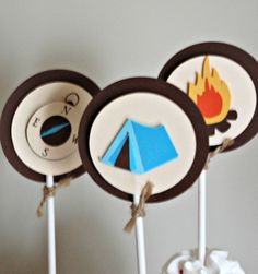 Camping Theme Birthday Party Cupcake Toppers (set of 12)